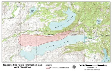Tannernite Fire perimeter map on Sunday, August 18. Map by Bridger-Teton National Forest.