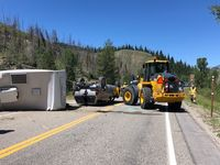 Roll-over accident in Hoback Canyon. Photo courtesy WYDOT.
