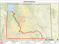 New antler/horn collection area. Map courtesy Wyoming Game & Fish.