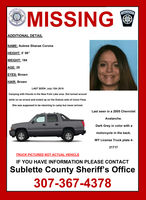 Aubrey Corona is still missing. The truck she was driving was found in the Leeds Creek area in Fremont County.
