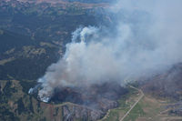 Aerial view of the Cliff Creek Fire. Photo by Aerial photos of the Cliff Creek Fire by Rita Donham, Wyoming Aero Photo.