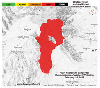 High Avalanche Danger in the mountains of western Wyoming.